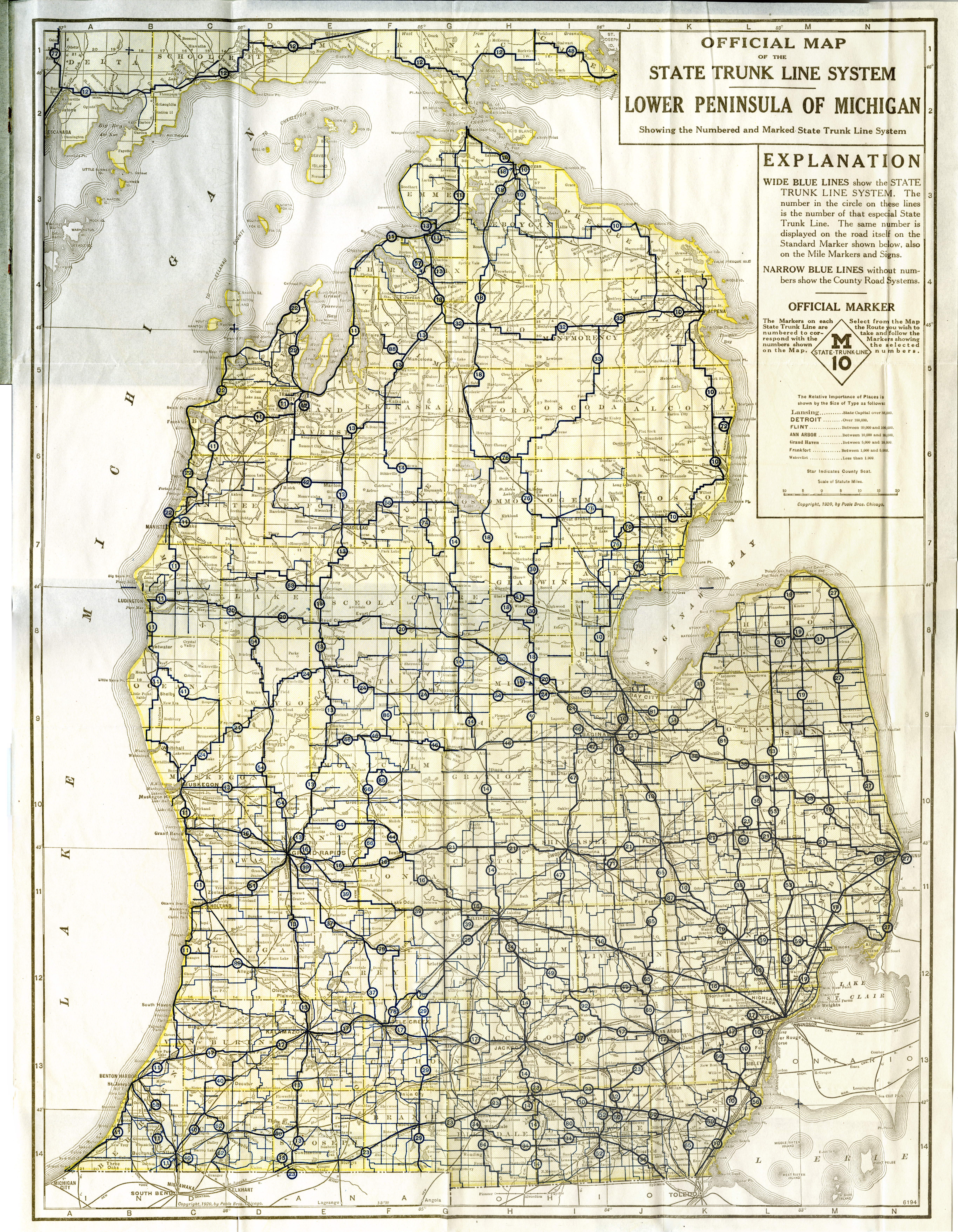 Michigan Road Map Map of Michigan   1920, Official Road Map (Lower Peninsula) Michigan Road Map