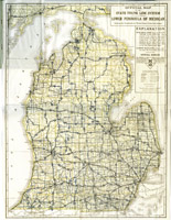1920 Official Road Map Lower Peninsula