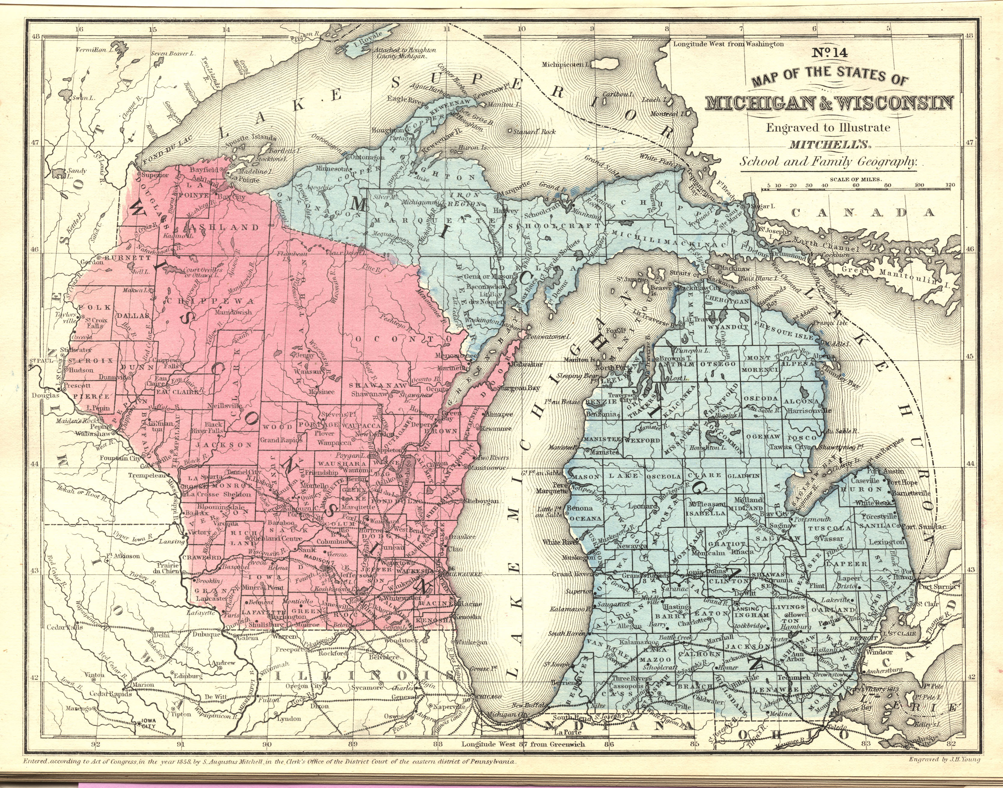 County Map Of Michigan And Wisconsin Mitchell Samuel