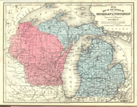 Map of the States of Michigan and Wisconsin thumbnail image