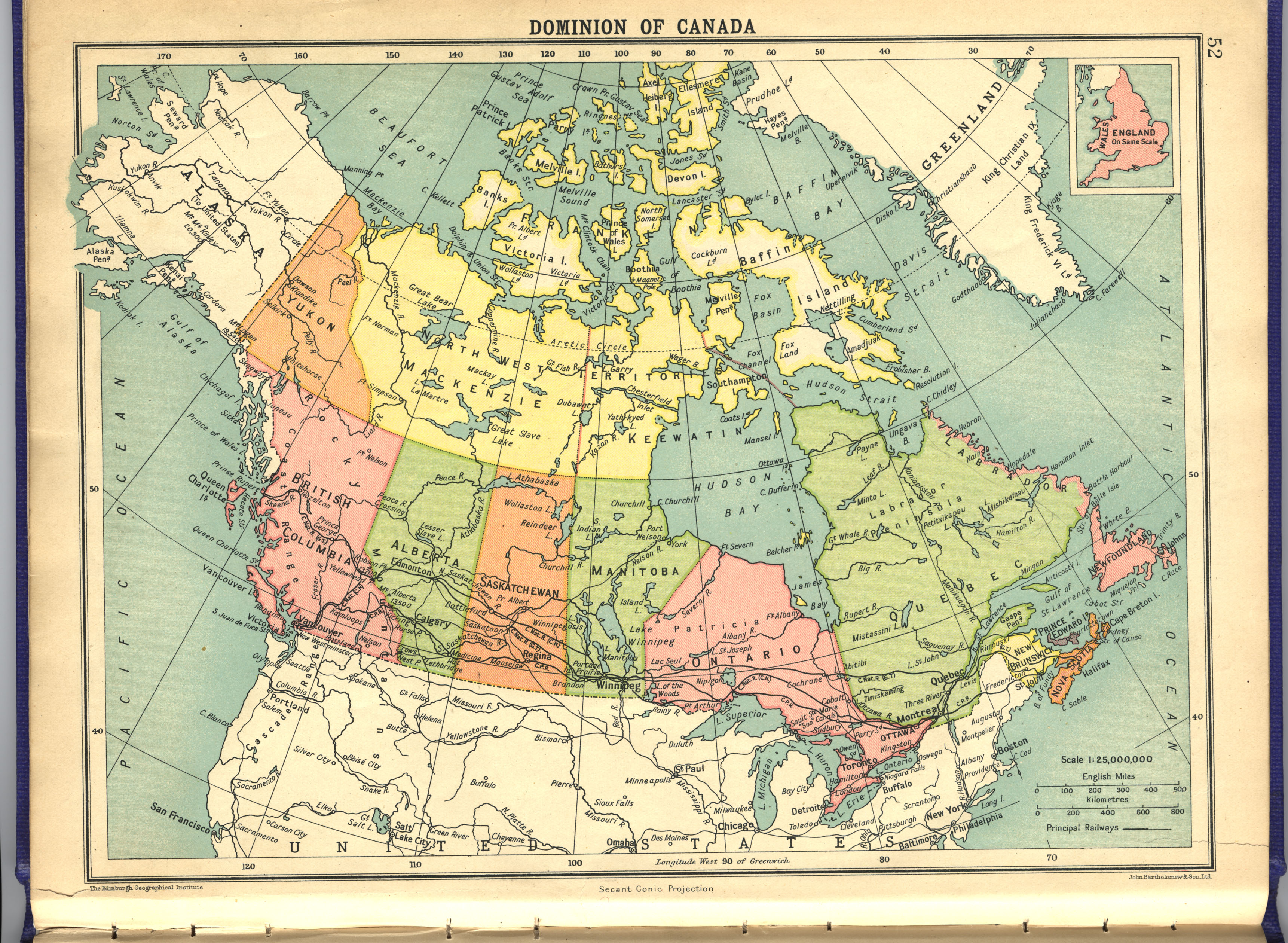 1922 Comparative Atlas English Scanned Maps – Map of Canada Atlas