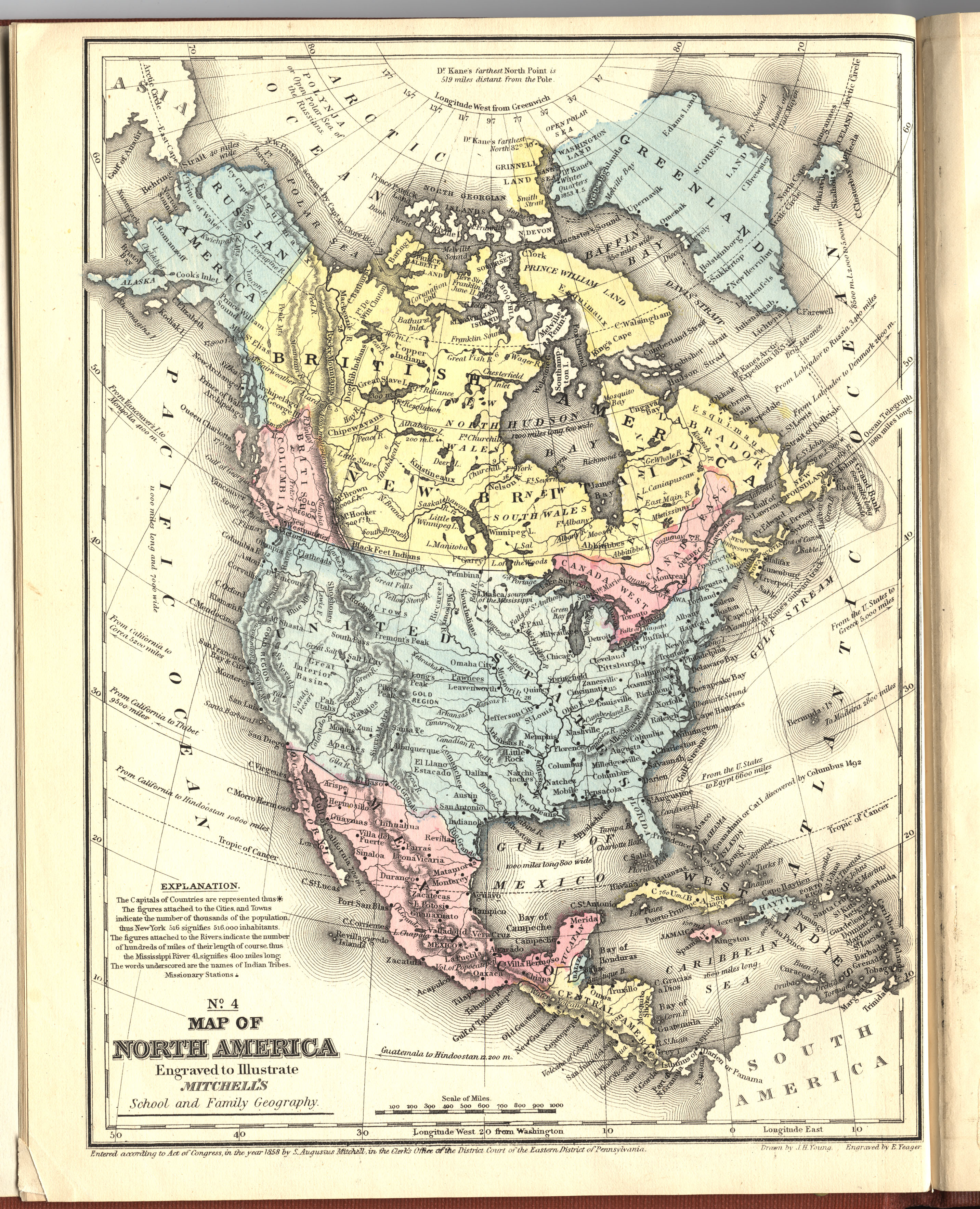 1858 north america from mitchell school atlas