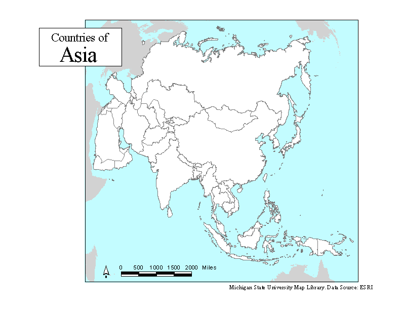 printable blank map of asia