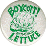 Boycott! Non-Union Lettuce, white and green button