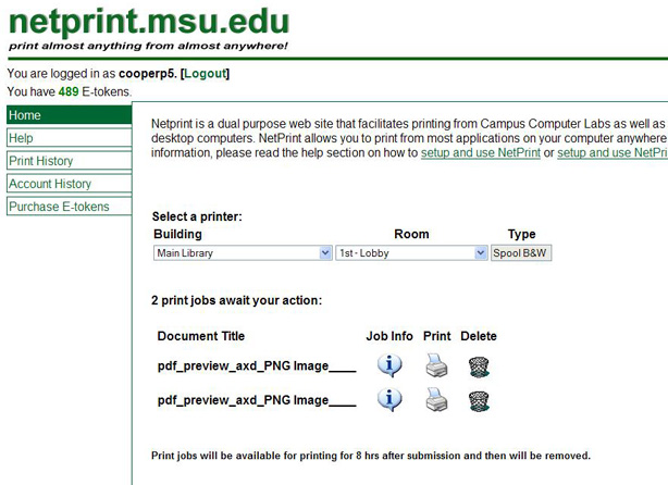 Interface of netprint.msu.edu