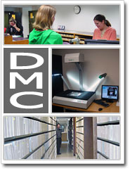 collage of images - front desk, scanning on bookeye, stacks or collection shelving
