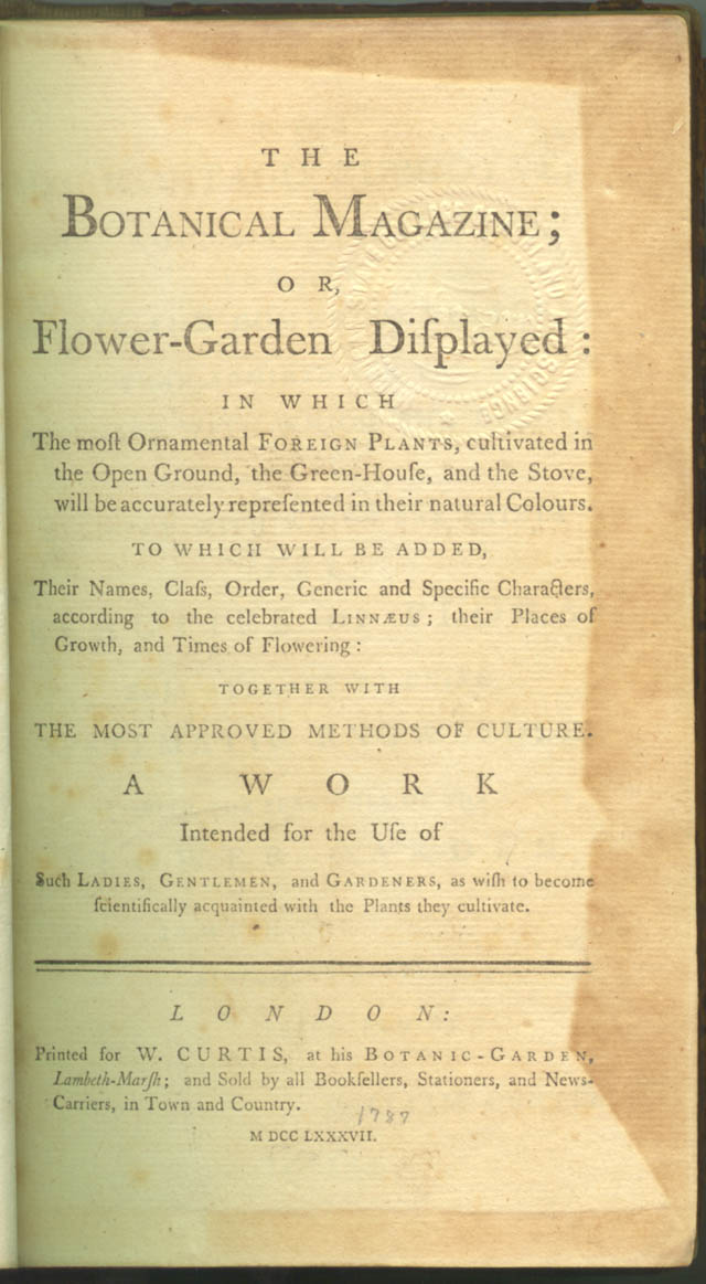 Title page of Botanical Magazine