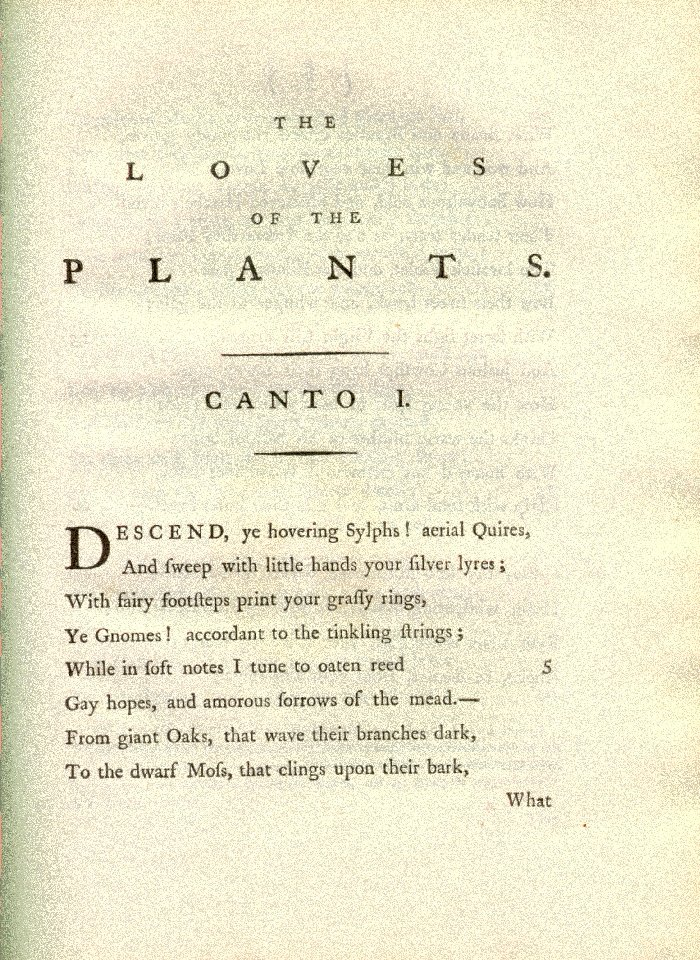 Page from The Botanic Garden by Erasmus Darwin