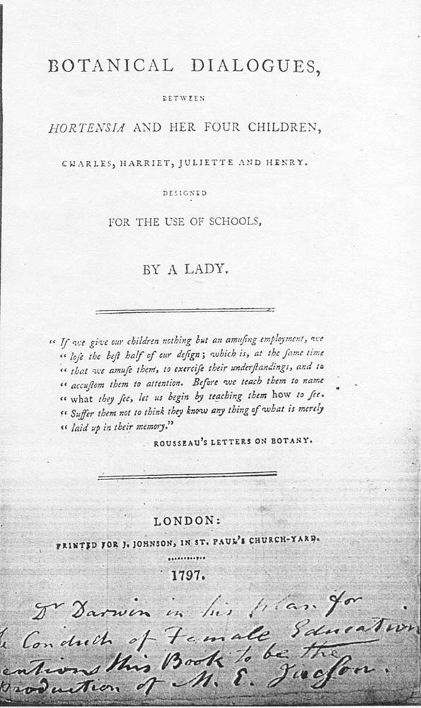 Title page of Botanical Dialogues, Between Hortensia and Her Four Children...