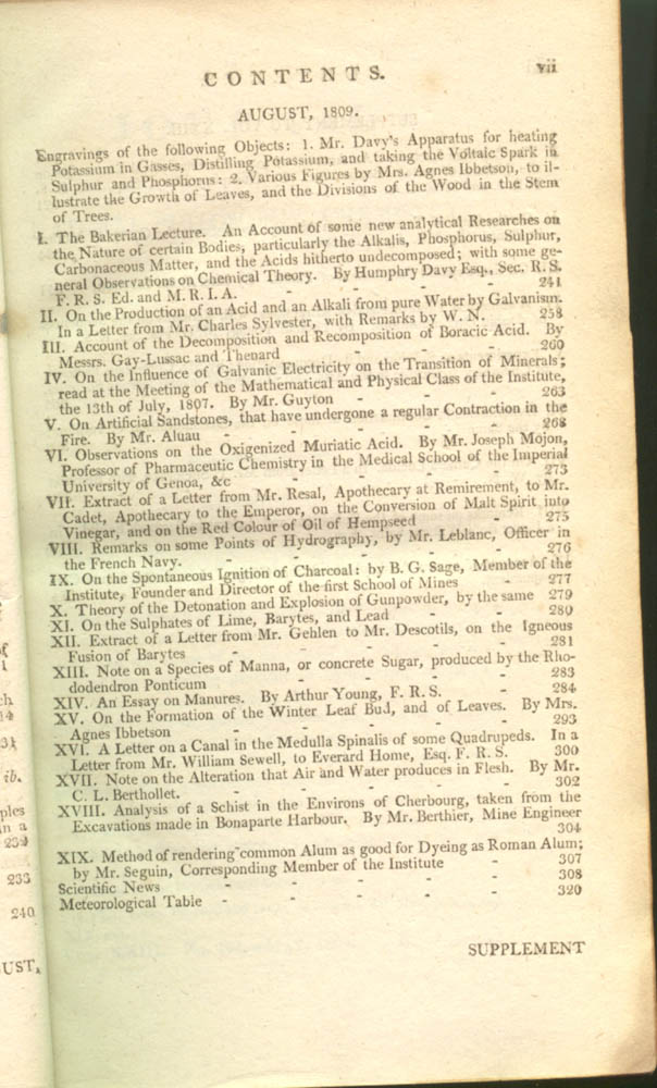 Page vii of The Journal of Natural Philosophy, Chemistry, and the Arts, 1809