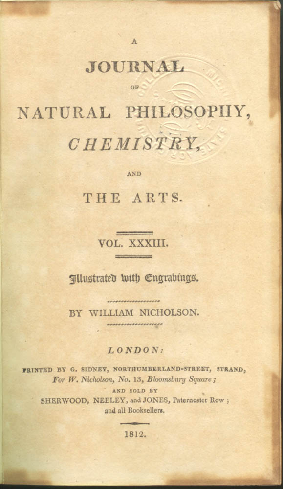 Title page of A Journal of Natural Philosophy, Chemistry, and the Arts, volume 33, 1812