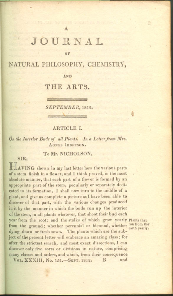 Article I in A Journal of Natural Philosophy, Chemistry, and the Arts, volume 33, 1812