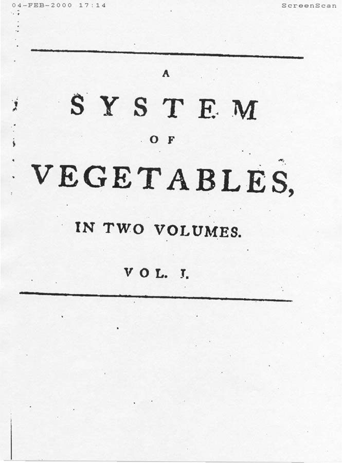 Scanned page of A System of Vegetables by Carl von Linn