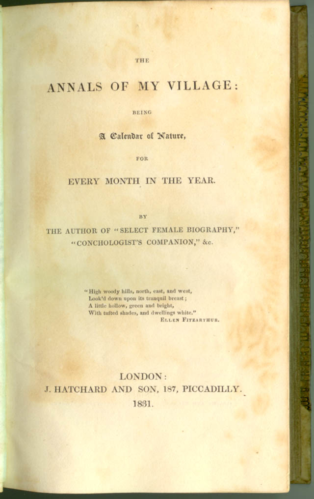 Title page of The Annals of My Village by Mary Roberts
