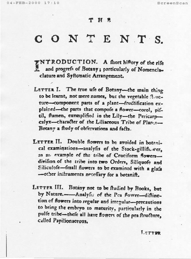 Scanned page of Letters on the Elements of Botany by Jean-Jacques Rousseau
