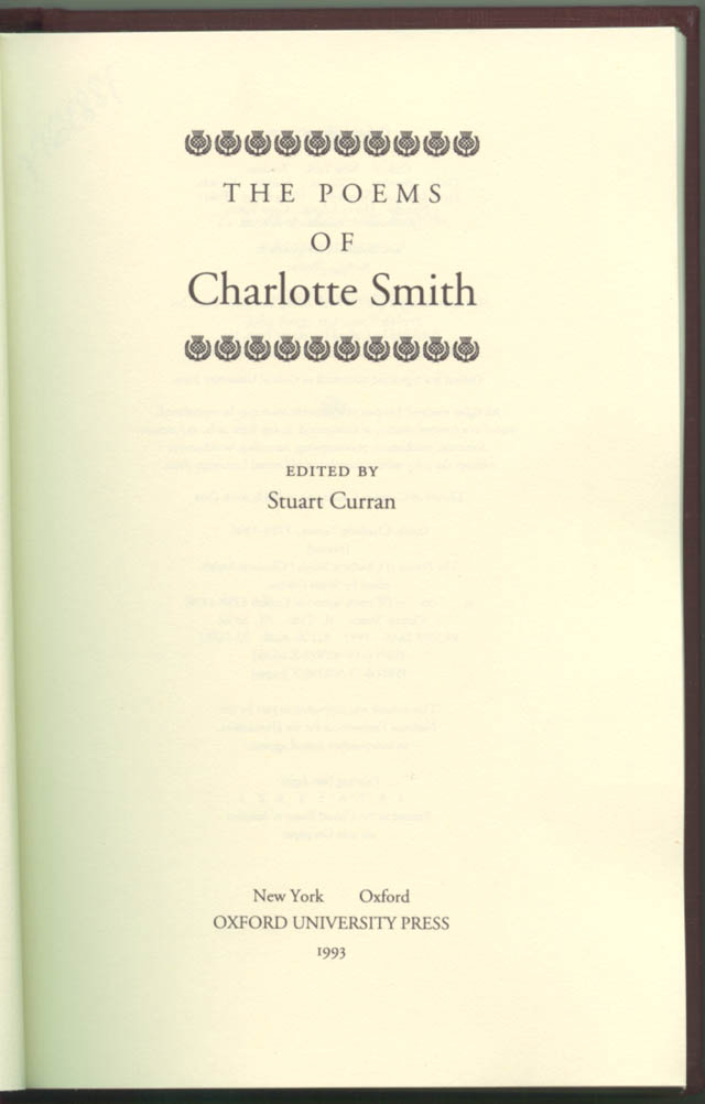 Title Page of The Poems of Charlotte Smith by Charlotte Turner Smith
