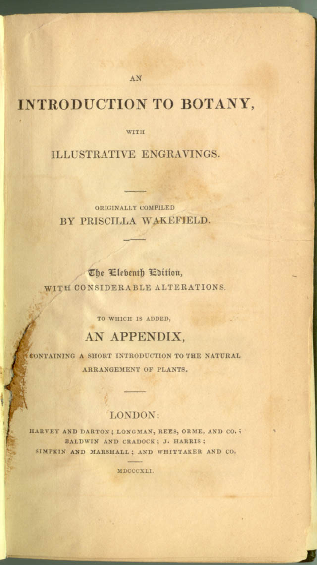 Title page of An Introduction to Botany by Priscilla Wakefield