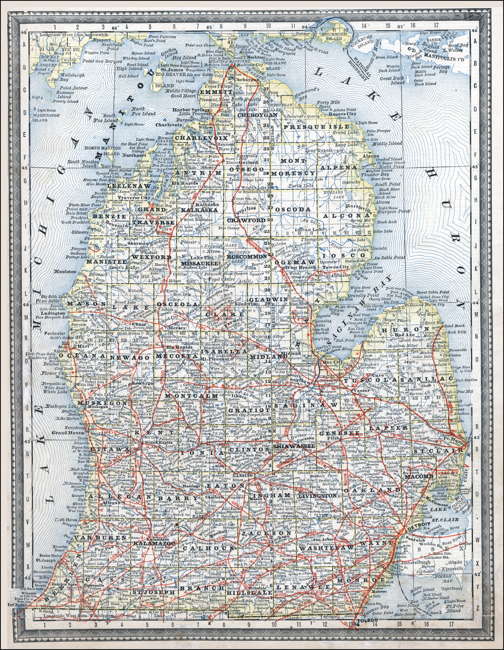 photograph regarding Printable Map of Michigan called Michigan Country Higher education Libraries - Map Library