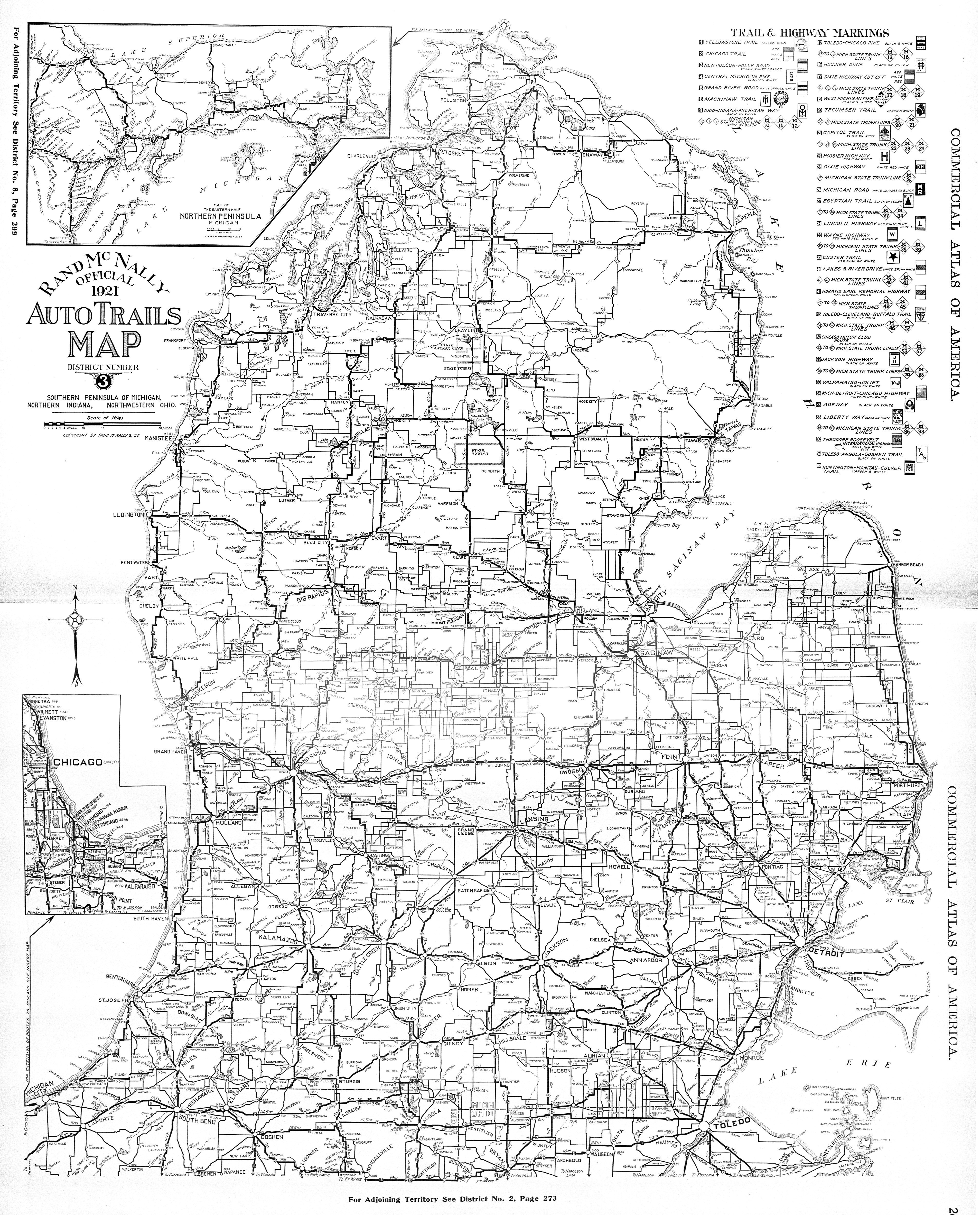 Michigan state university libraries map library footpaths to rand mcnally official 1921 auto trails map district number 3 southern peninsula of michigan northern indiana northwestern ohio publicscrutiny Image collections