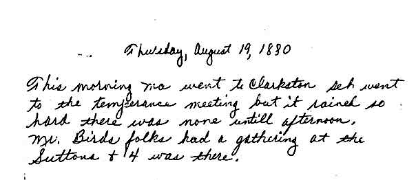 Nettie Maltby Young diary entry