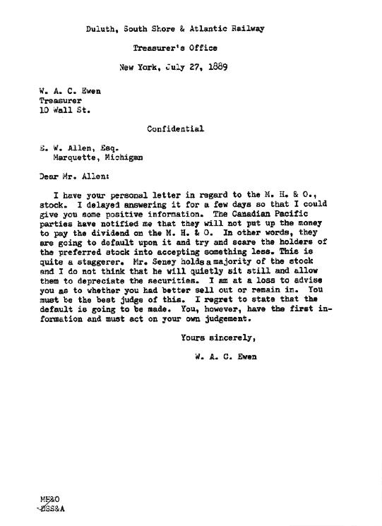 Letter from W. A. C. Ewen