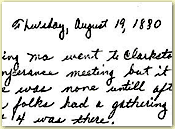 August 19, 1890 diary entry