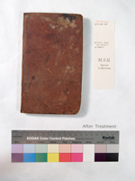 the front cover of the book after repair