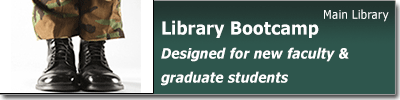 Advertisement for library bootcamp instruction sessions for new faculty and graduate students