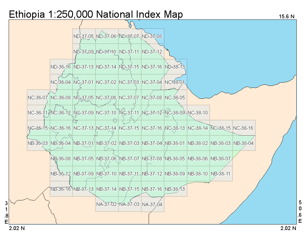National Index Map of Ethiopia at a ratio of 1 to 250,000