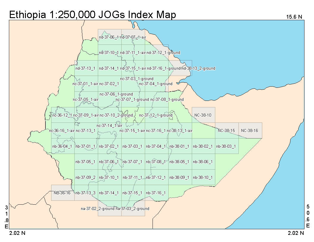 JOGs Index Map of Ethiopia at a 1 to 250,000 ratio