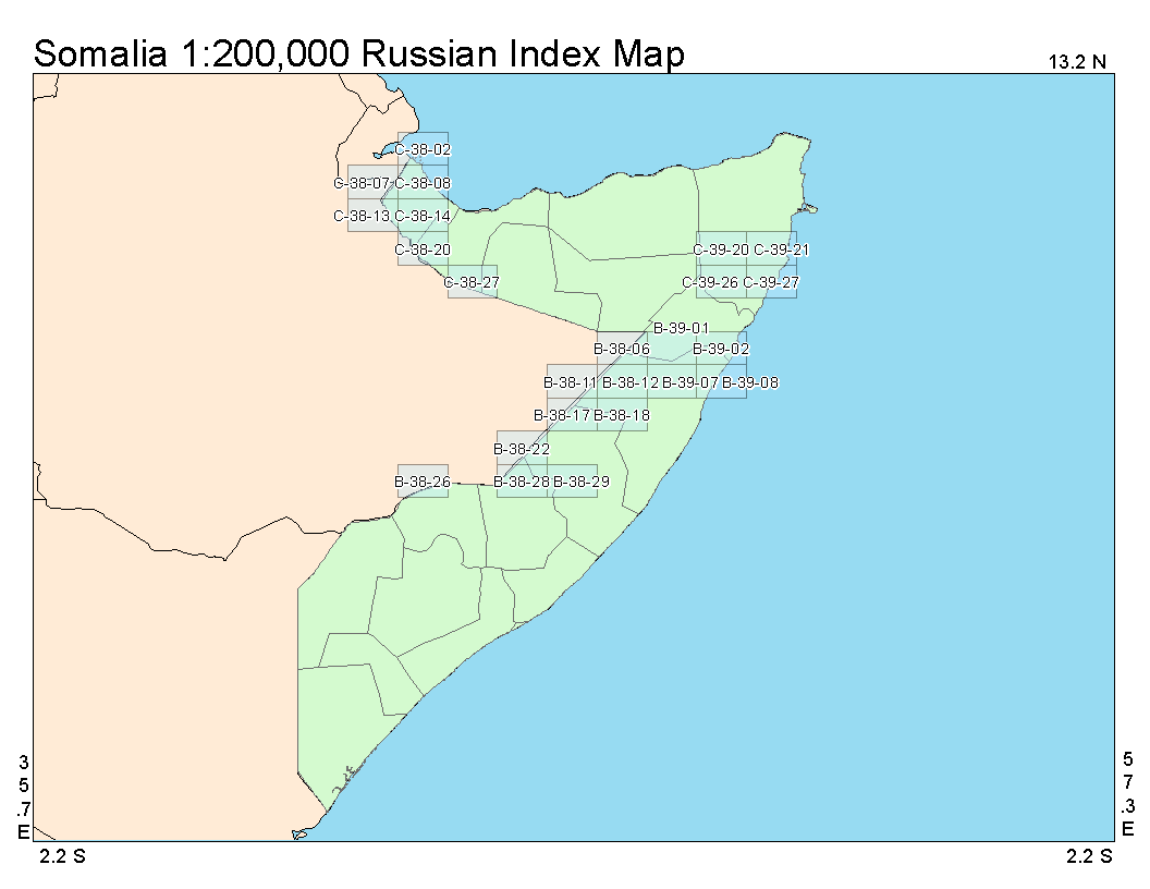 Russian Index map of Somalia at a 1 to 200,000 ratio