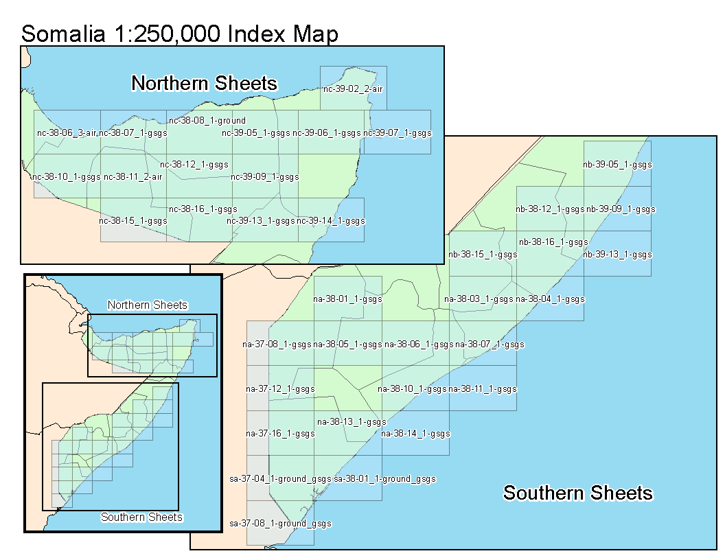 Index map of Somalia at a 1 to 250,000 ratio
