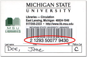 Community card with the barcode number circled