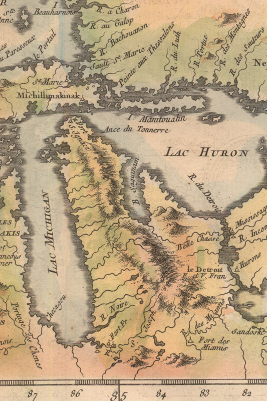 map detail of Bellin 1757 Lacs Du Canada