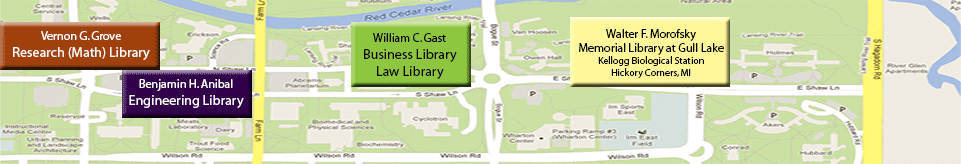 the campus map with the library branch buildings raised in a 3D fashion with labels and a tree on the right