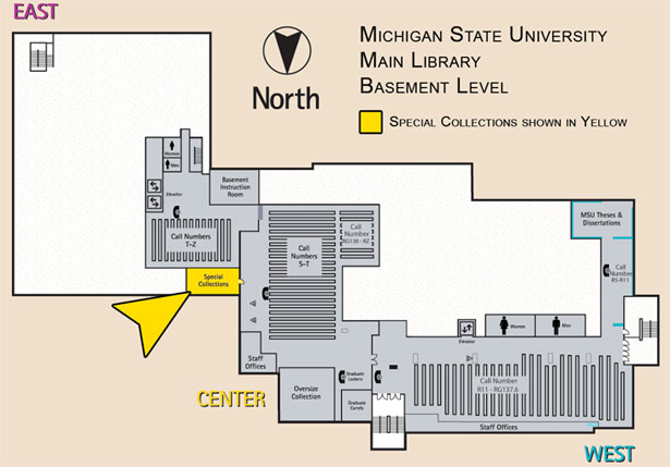 map of the basement level of MSU's Main Library with Special Collections highlighted