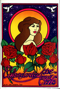 poster with woman, roses and night sky