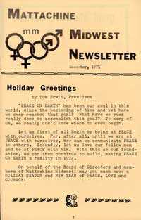 Mattachine Midwest Newsletter, December 1971