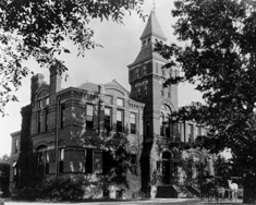 Linton Hall in black and white